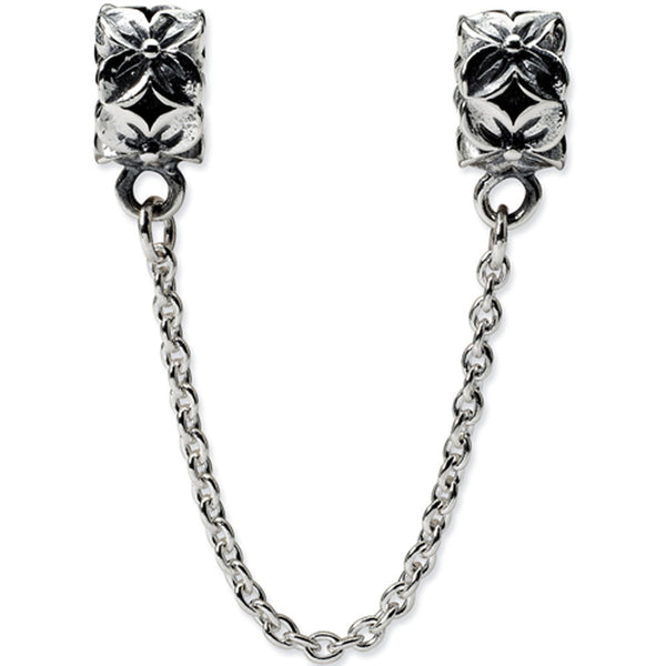 Reflection Beads Silver Security Chain with Flower Bead