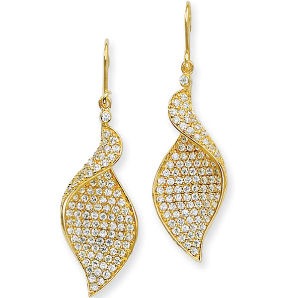 Sterling Silver Gold Plated Cubic Zirconia Wave Dangle Earrings by Cheryl M