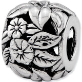 Reflection Beads Silver Hibiscus Garden Flower Bead