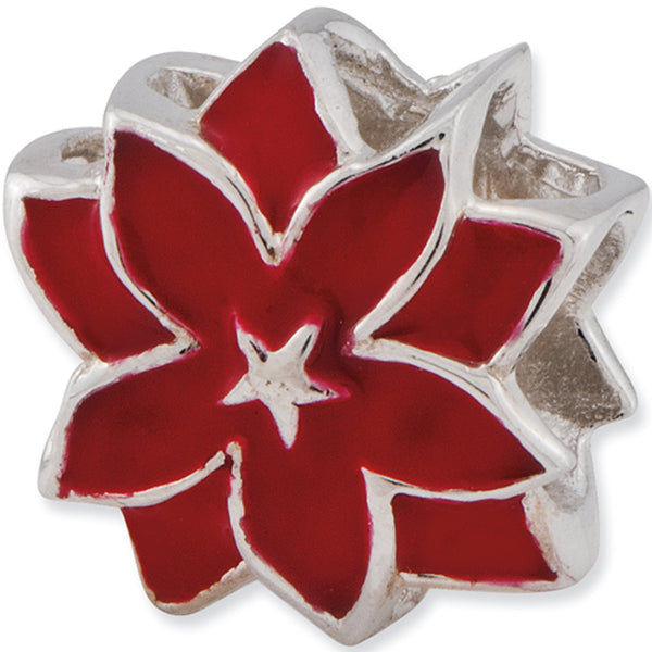 Reflection Beads Silver Red Star Lily Flower Bead
