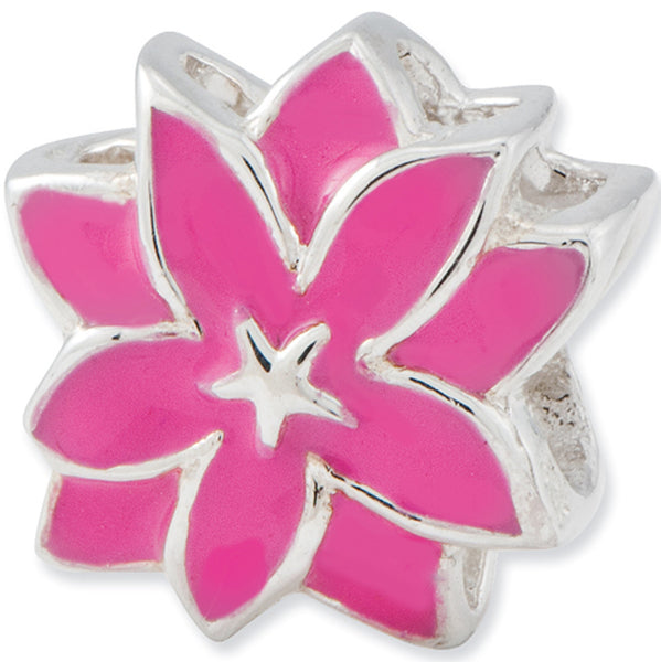 Reflection Beads Silver Pink Star Lilly Flower Bead