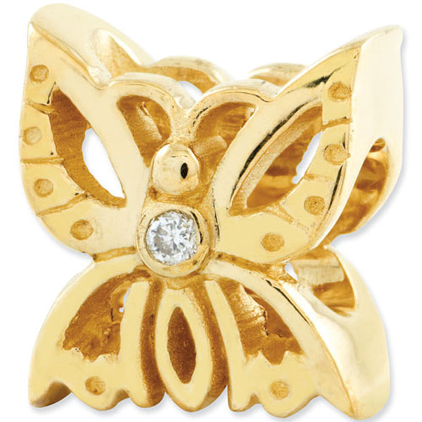 Reflection Beads 14kt Yellow Gold Diamond Butterfly Nature Bead