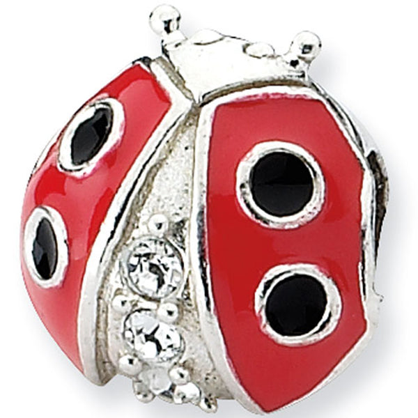Reflection Beads Silver and CZ Enamel Ladybug Nature Bead