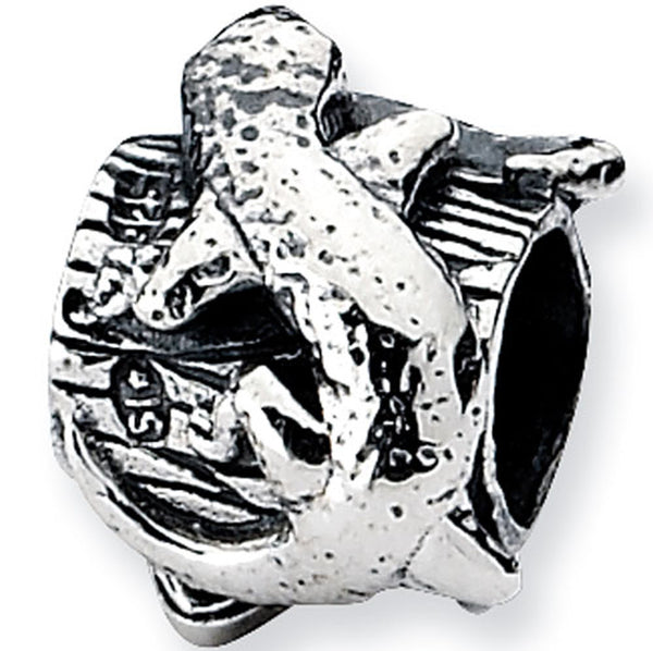 Reflection Beads Silver Lizard Log Nature Bead