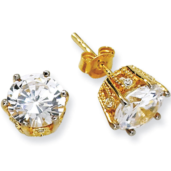 8mm Sterling Silver Gold Plated Cubic Zirconia Stud Earrings by Cheryl M