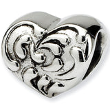 Reflection Beads Silver Damask Heart Love Bead