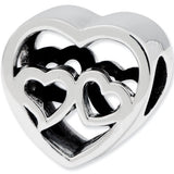 Reflection Beads Silver Two Hearts Love Bead