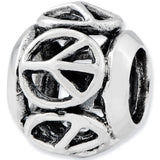 Reflection Beads Silver Peace Signs Family Bead