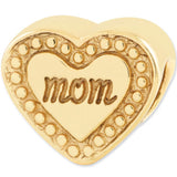 Reflection Beads Silver Gold Plated Heart Mom Family Bead