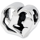 Reflection Beads Silver Heart Mom With Baby Family Bead