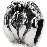 Reflection Beads Silver Big and Little Hands Family Bead