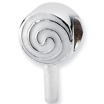 Reflection Beads Silver Enamel Lollipop Food Bead