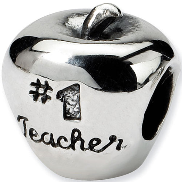 Reflection Beads Silver Number 1 Teacher Apple Career Bead