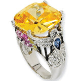 Sterling Silver Canary Cubic Zirconia Hummingbird Ring by Cheryl M
