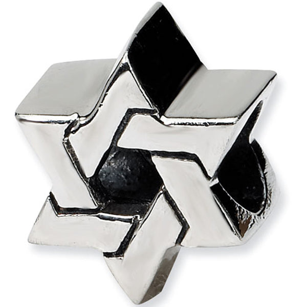 Reflection Beads Silver Star of David Religious Bead