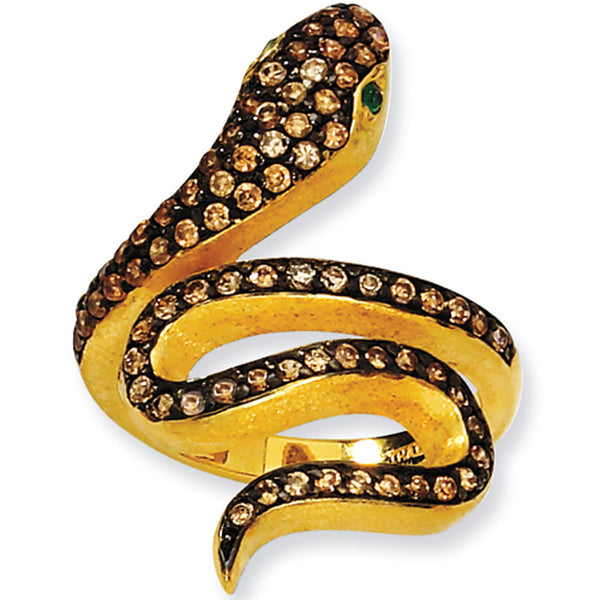 Gold Plated Cubic Zirconia Snake Ring by Cheryl M