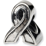 Reflection Beads Silver Awareness Ribbon Support Bead