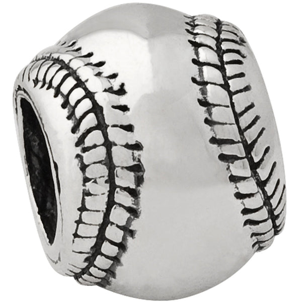 Reflection Beads Silver Baseball Sports Bead
