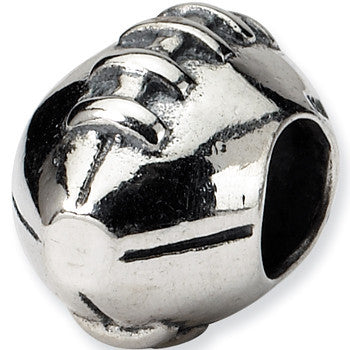 Reflection Beads Silver Football Sports Bead