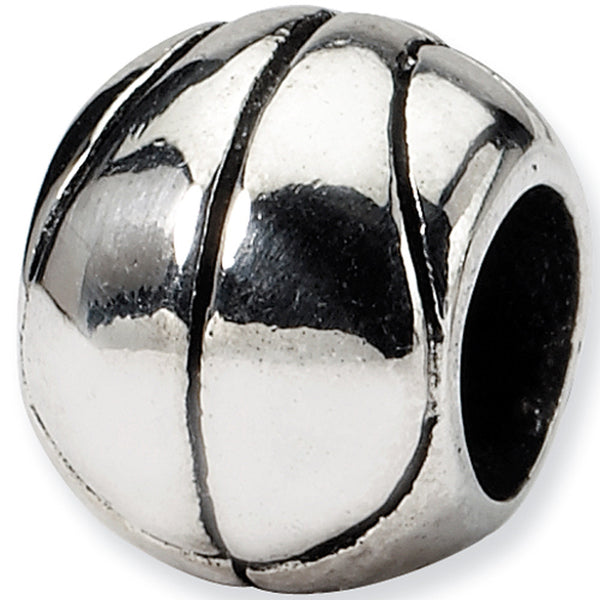 Reflection Beads Silver Basketball Sports Bead