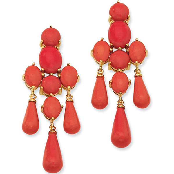 Gold Plated Faux Red Coral Chandelier Post Earrings by Cheryl M