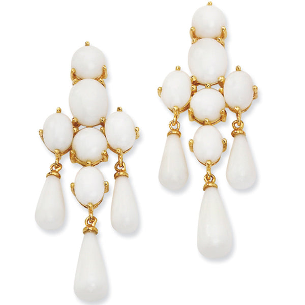 Gold Plated Faux White Agate Chandelier Post Earrings by Cheryl M
