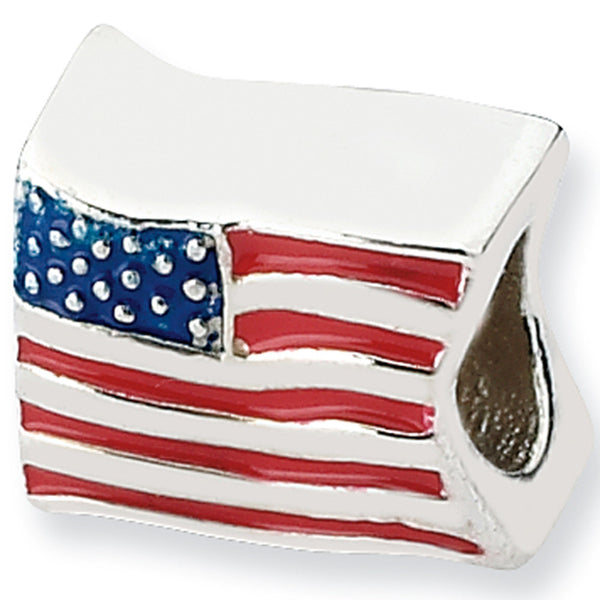 Reflections Beads Silver Enamel United States Flag Travel Bead