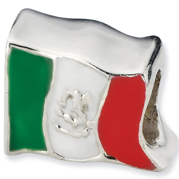 Reflections Beads Silver Enamel Mexican Flag Travel Bead