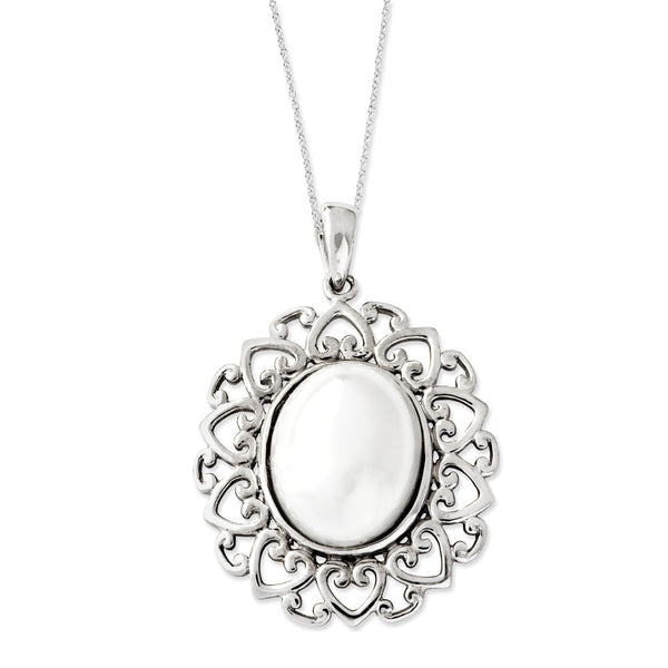 Sterling Silver The Pearl of Contentment Sentimental Expressions Necklace