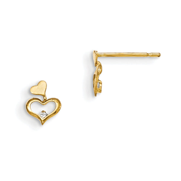 14kt Yellow Gold Twin Heart with CZ Stone Youth Dangle Earrings