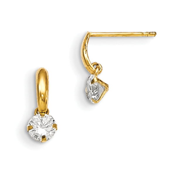 14kt Yellow Gold 10mm Band Solitaire CZ Stone Girls Dangle Earrings