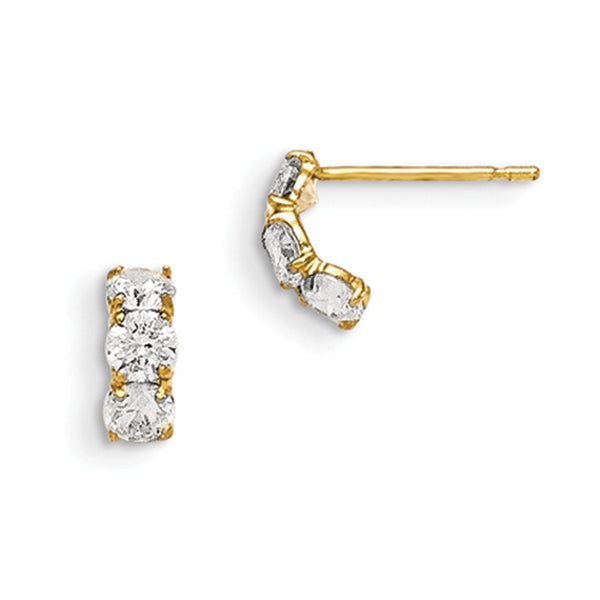 14kt Yellow Gold Cubic Zirconia Triad Stones Girls Earrings