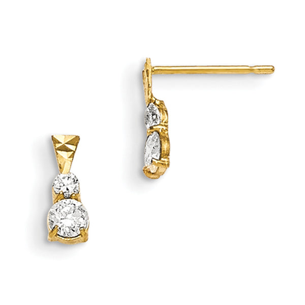 14kt Yellow Double Diamond Cut Cubic Zirconia Girls Dangle Earrings