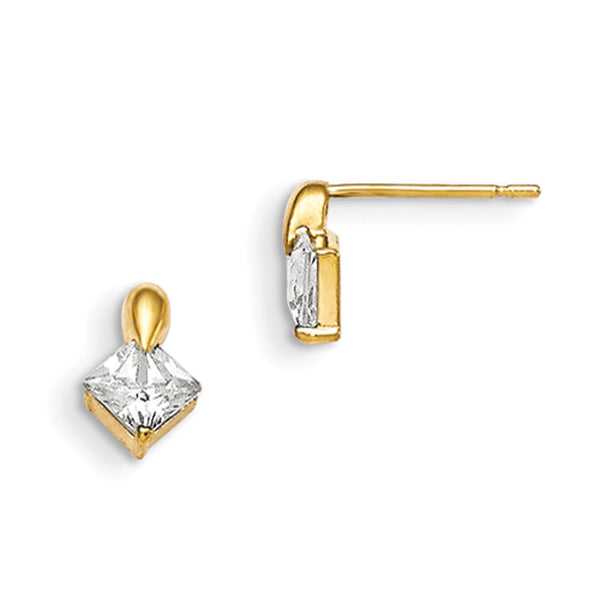 14kt Yellow Gold 5mm Inverted Square Cubic Zirconia Girls Earrings