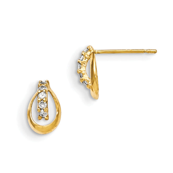 14kt Yellow Gold Hollow Teardrop Quad Cubic Zirconia Girls Earrings