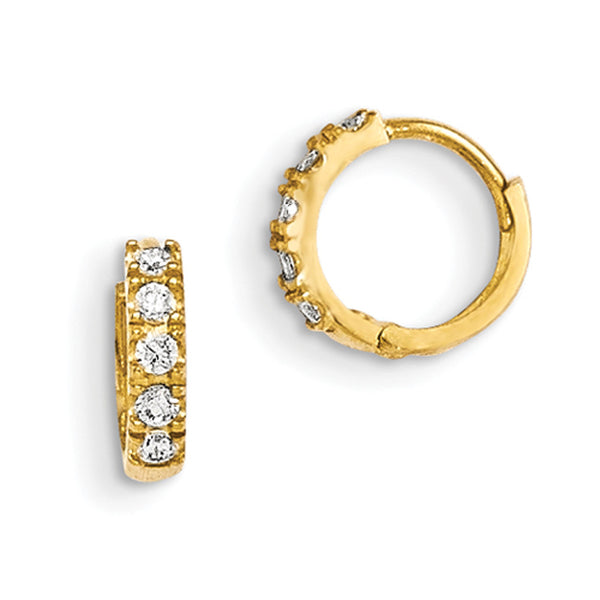 14kt Yellow Gold 10mm Diameter Prong Set CZ Omega Girls Hoop Earrings