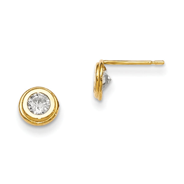 14kt Yellow Gold 5mm Round Bezel Set Cubic Zirconia Girls Stud Earrings