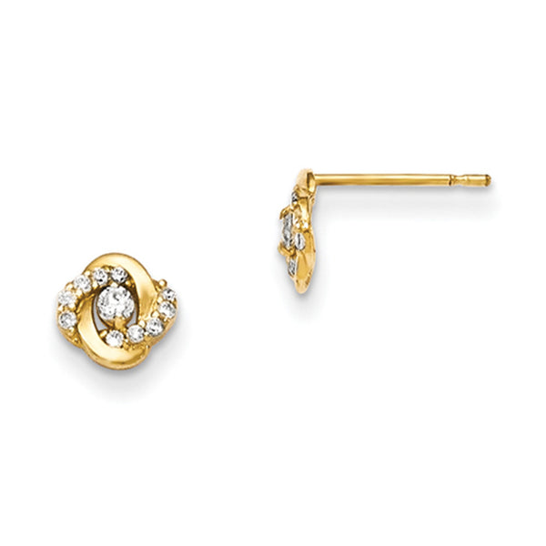 14kt Yellow Gold 6mm Knotted Cubic Zirconia Accent Girls Stud Earrings