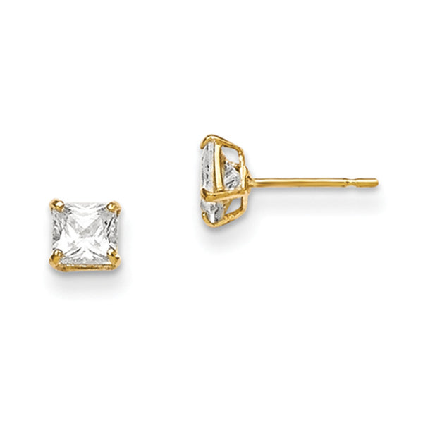 14kt Yellow Gold 4mm Square Cubic Zirconia Girls Stud Earrings