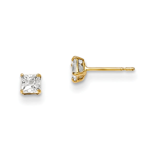 14kt Yellow Gold 3mm Square Cubic Zirconia Girls Stud Earrings