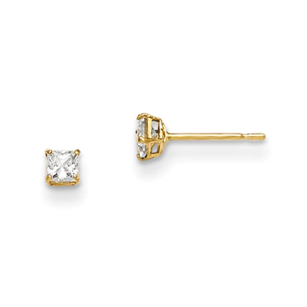 14kt Yellow Gold 2.5mm Square Cubic Zirconia Girls Stud Earrings