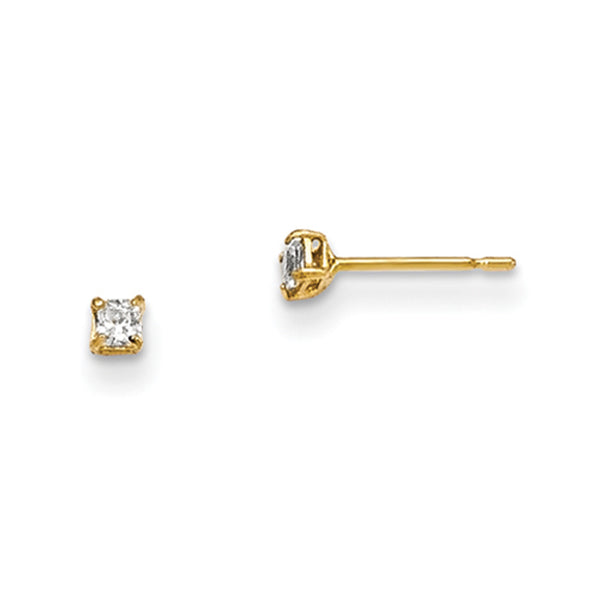 14kt Yellow Gold 2mm Square Cubic Zirconia Girls Stud Earrings