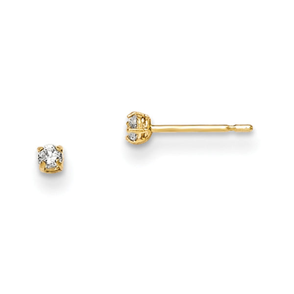 14kt Yellow Gold 2mm Round Basket Set CZ Girls Stud Earrings