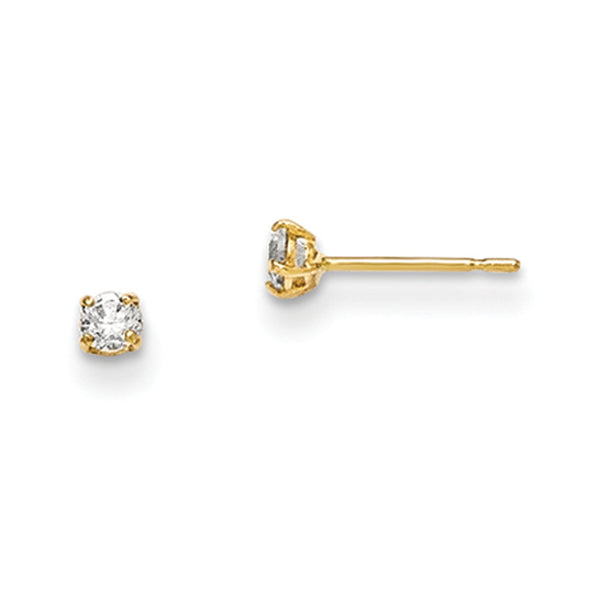 14kt Yellow Gold 2.5mm Round Basket Set CZ Girls Stud Earrings