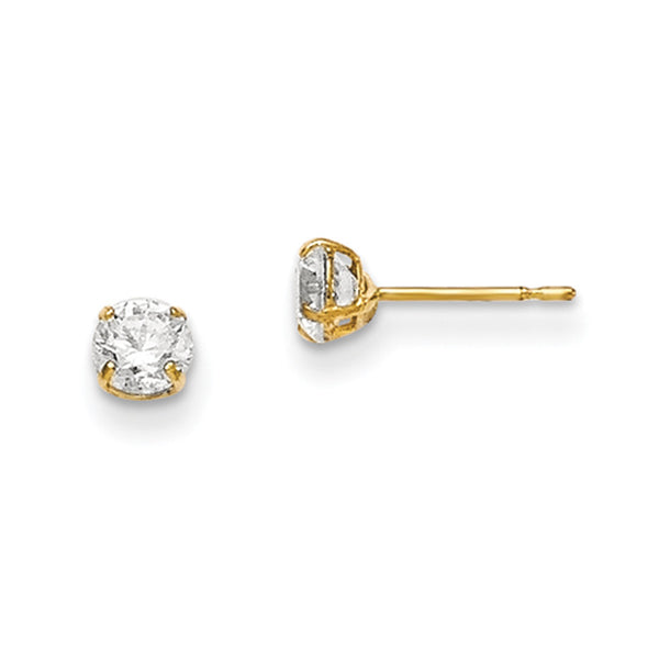 14kt Yellow Gold 4mm Round Basket Set CZ Girls Stud Earrings
