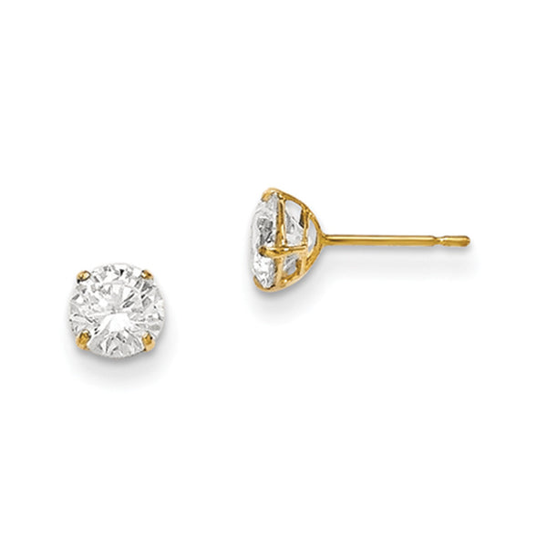 14kt Yellow Gold 5mm Round Basket Set CZ Girls Stud Earrings