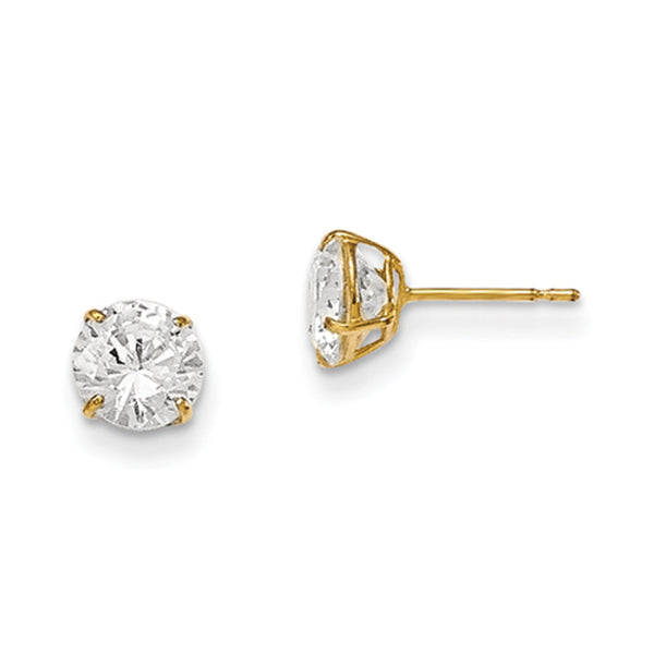 14kt Yellow Gold 6mm Round Basket Set CZ Girls Stud Earrings