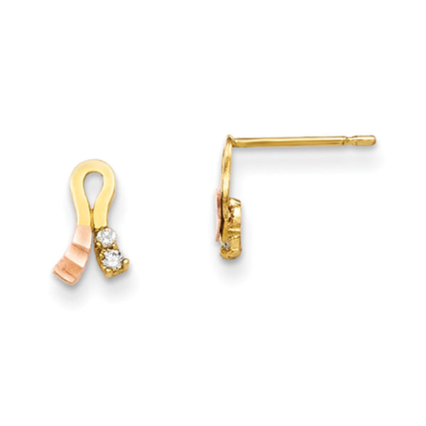 14kt Yellow Gold Rose Gold Two Tone Whirled CZ Girls Stud Earrings