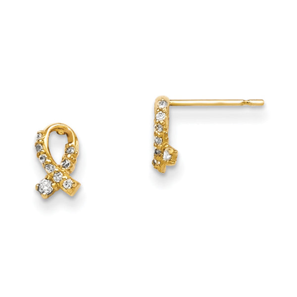 14kt Yellow Gold 7mm Folded Ribbon CZ Accented Girls Stud Earrings