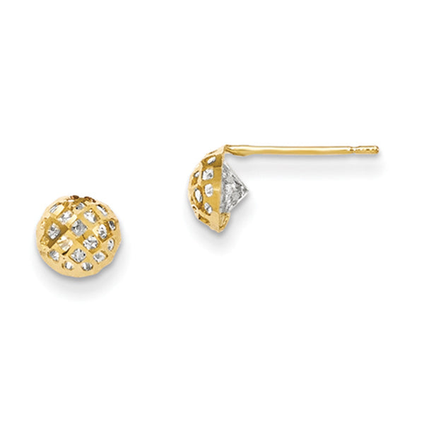 14kt Yellow Gold 6mm Round Lattice Cubic Zirconia Girls Stud Earrings